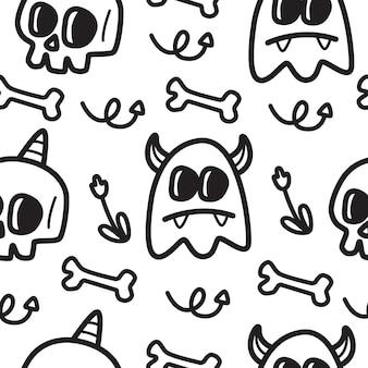 Ilustração de desenho de halloween doodle padrão kawaii