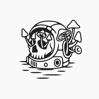 Ilustração de desenho de linha de crânio