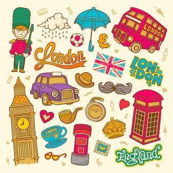Ilustração de desenho de londres doodle elementos ingleses, coleção de símbolos de londres