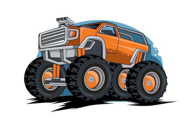 Ilustração de desenho de mão de monstros de caminhão grande