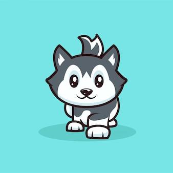 Ilustração de desenho de mascote de cão husky fofo