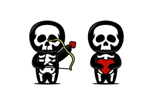 Ilustração de desenho de mascote de caveira fofa com tema de amor e romance