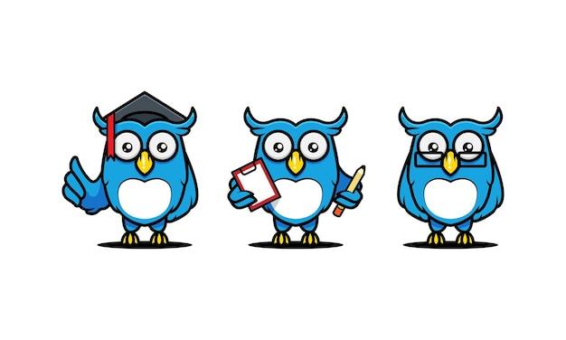 Ilustração de desenho de mascote de coruja fofa, relacionada à educação