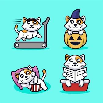 Ilustração de desenho de mascote de gato fofo kawaii