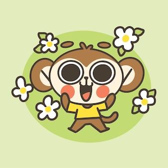 Ilustração de desenho de mascote menino fofo feliz