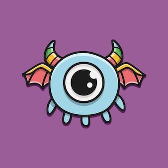 Ilustração de desenho de monstro de personagem de desenho animado kawaii