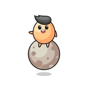Ilustração de desenho de ovo sentado na lua, design de estilo fofo para camiseta, adesivo, elemento de logotipo