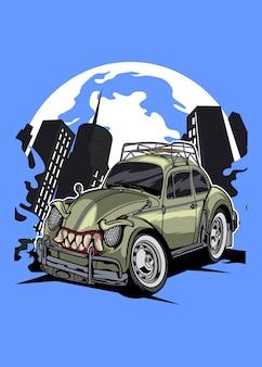 Ilustração de desenho de personagem de carro com bug de monstro antigo