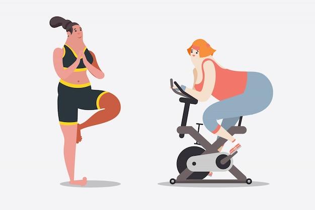 Ilustração de desenho de personagem de desenho animado. duas mulheres treinam com ioga e bicicleta na academia.
