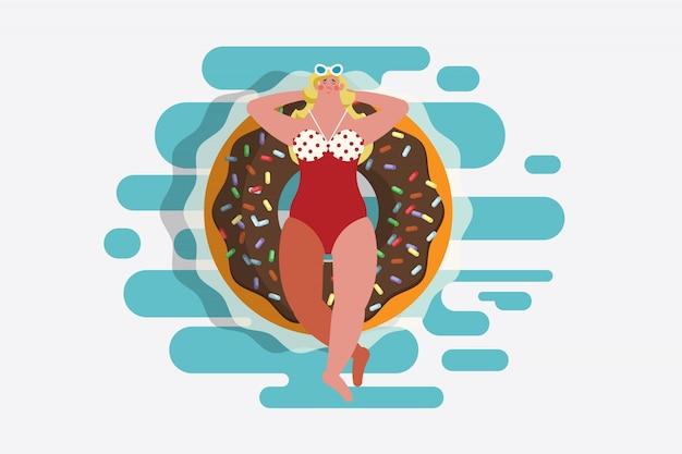 Ilustração de desenho de personagem de desenho animado. top view menina em maiô deitado em um anel de borracha em forma de filhós. flutuando na piscina