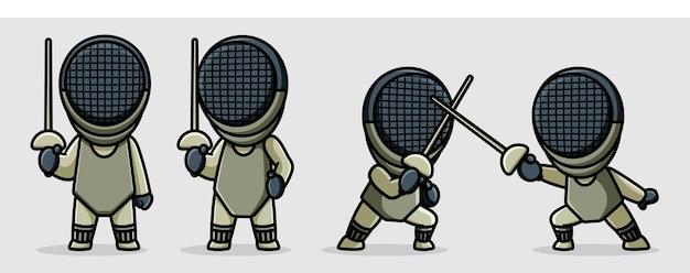 Ilustração de desenho de personagem de esgrima fofa Vetor Premium