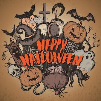 Ilustração de desenho de personagens de halloween com chapéu de bruxa