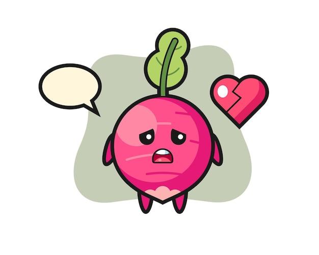 Ilustração de desenho de rabanete com coração partido, design de estilo fofo para camiseta, adesivo, elemento de logotipo