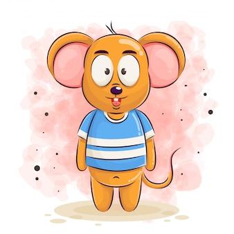 Ilustração de desenho de rato fofo