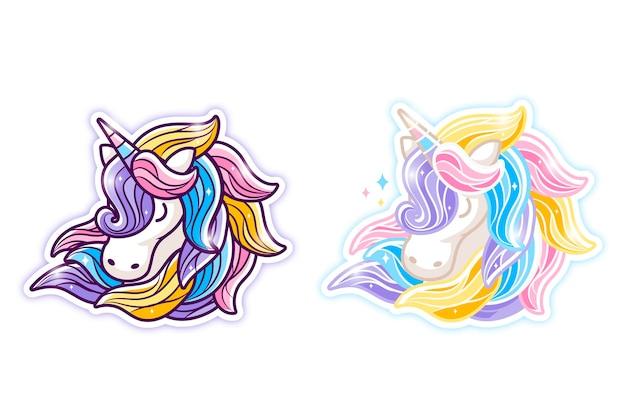 Ilustração de desenho de unicórnio com cabelo colorido