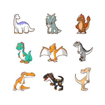 Ilustração de desenho de vetor de dinossauro fofo