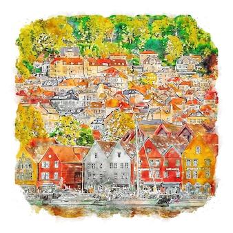 Ilustração de desenho em aquarela de bergen noruega.