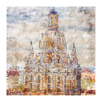 Ilustração de desenho em aquarela de dresden alemanha