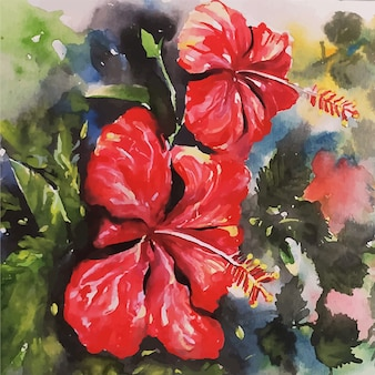 Ilustração de desenho em aquarela de flor bonita desenhada à mão