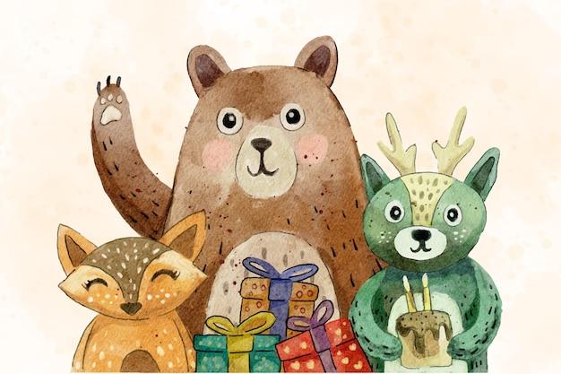 Ilustração de desenho fofo animal de aniversário com aquarela