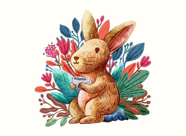 Ilustração de desenho fofo coelho de café com aquarela