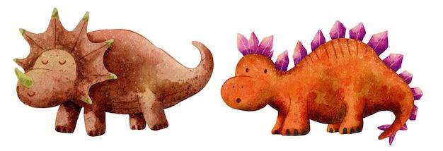 Ilustração de desenho fofo de dinossauro com aquarela