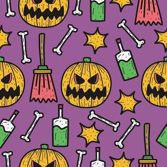Ilustração de desenho padrão de doodle de halloween desenhado à mão