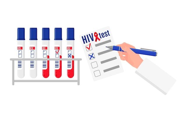 Ilustração de desenho vetorial com suporte e tubos de ensaio com teste de sangue para hiv e em branco com resultados. dia mundial da aids.
