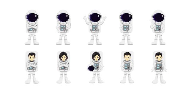 Ilustração de desenho vetorial de astronauta fofo