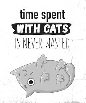 Ilustração de desenho vetorial de gato fofo com frase de letras engraçadas