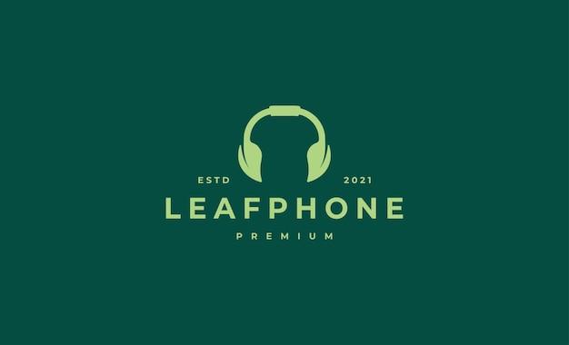 Ilustração de desenho vetorial de logotipo de fone de ouvido leaf