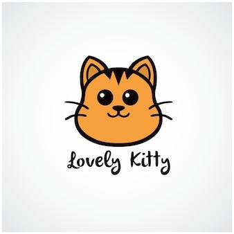 Ilustração de desenho vetorial de logotipo de gato fofo gatinho adorável