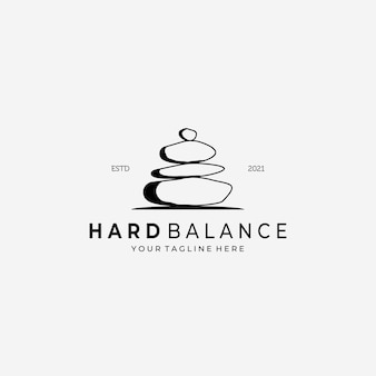Ilustração de desenho vetorial de logotipo de pedra de equilíbrio rígido vintage, pedra de arte de linha, logotipo simples spa, logotipo de cuidados saudáveis