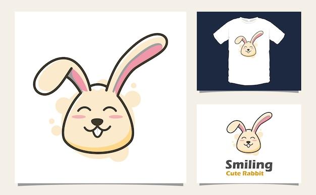 Ilustração de desenho vetorial de mascote coelho fofo sorridente