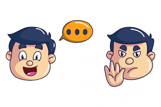 Ilustração de desenho vetorial do rosto de menino.