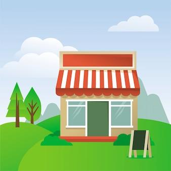 Ilustração de desenho vetorial - loja de casa com toldo listrado