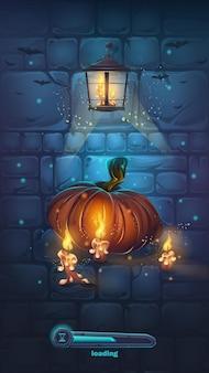 Ilustração de desenho vetorial - parede de halloween com abóbora