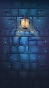Ilustração de desenho vetorial - parede de halloween no fundo Vetor Premium