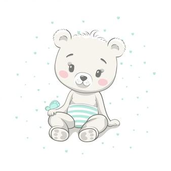 Ilustração de desenhos animados bebê fofo urso