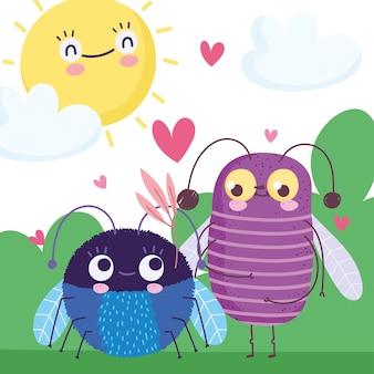 Ilustração de desenhos animados bonitos insetos na grama com corações sol céu