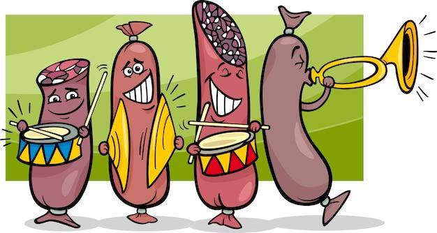 Ilustração de desenhos animados da banda de salsicha
