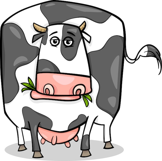 Ilustração de desenhos animados de animais de fazenda de vaca