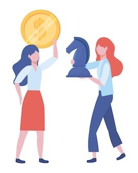 Ilustração de desenhos animados de avatar de mulheres de negócios