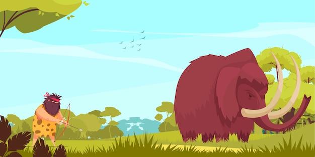 Ilustração de desenhos animados de caça mamute com homem primitivo, segurando o arco e flecha, seguindo para o animal grande