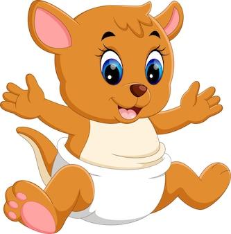 Ilustração de desenhos animados de canguru bebê fofo