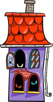 Ilustração de desenhos animados de casa assombrada