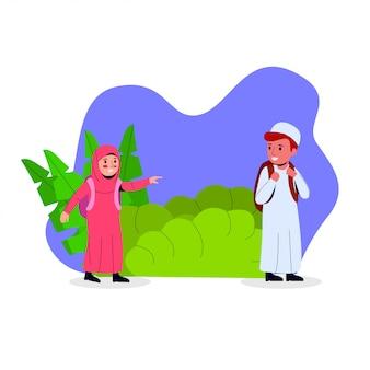 Ilustração de desenhos animados de crianças árabes