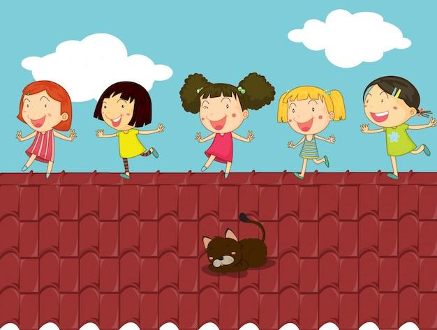 Ilustração de desenhos animados de crianças no telhado