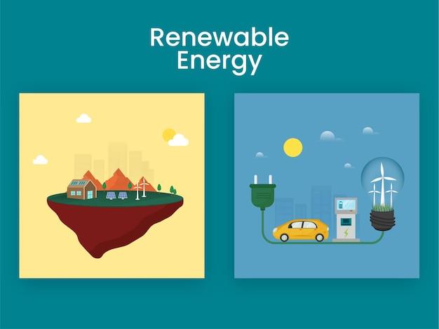 Ilustração de desenhos animados de energia renovável