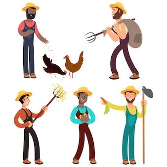 Ilustração de desenhos animados de equipe de agricultores internacionais